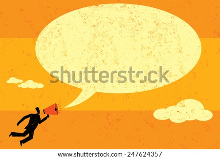 Communicating with a megaphone A businessman announcing a message into a speech bubble using a megaphone.  The man & speech bubble and the background are on separate labeled layers. - stock vector