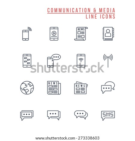 Communication and Media Line Icons - stock vector