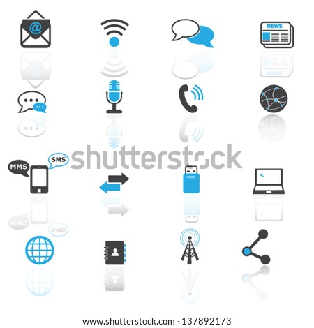 Communication and media set 2 - stock vector