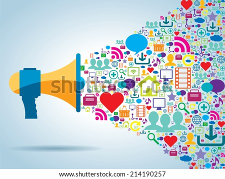 communication and promotion strategy with social media - stock vector