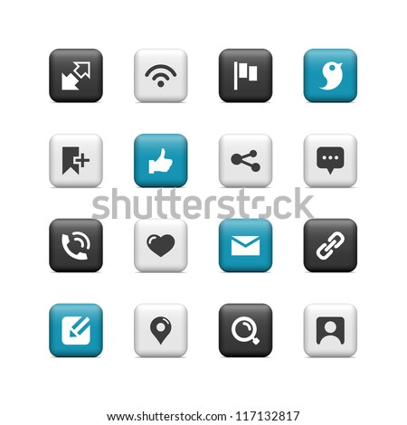 Communication and social icons. Buttons. - stock vector