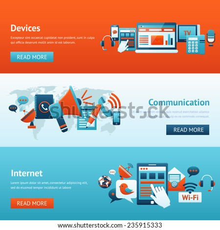 Communication banner set with mobile internet devices isolated vector illustration - stock vector