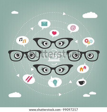 communication between people connected by their thoughts and feelings - stock vector