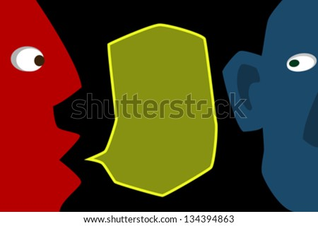 communication between two friends the two halves of the face. In the middle of the speech bubble. - stock vector