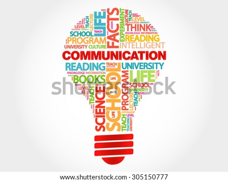 COMMUNICATION bulb word cloud, business concept - stock vector