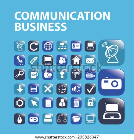 communication business, mobile, buttons icons, signs, symbols set, vector - stock vector