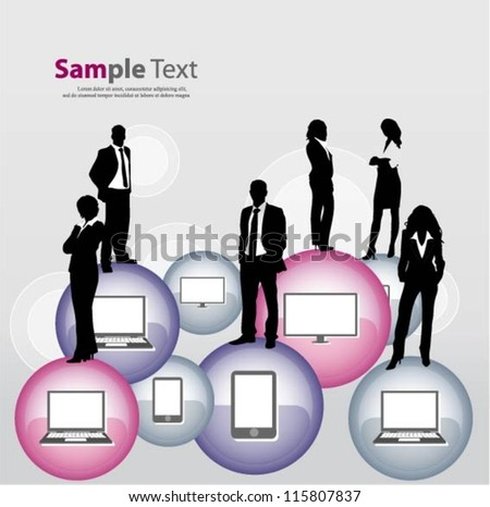 Communication concept design with business people team - stock vector