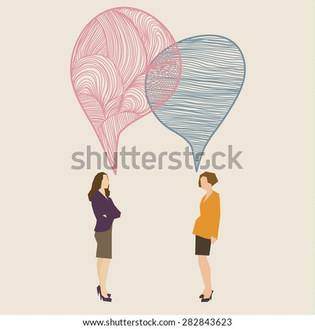 Communication concept. Two women with hand drawn speech bubbles. Flat design, vector illustration - stock vector