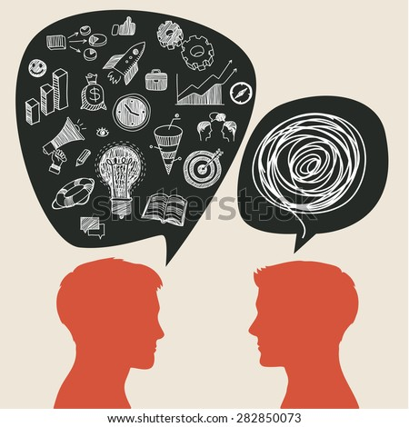 Communication concept with business doodles in speech bubble. Flat design, vector illustration - stock vector