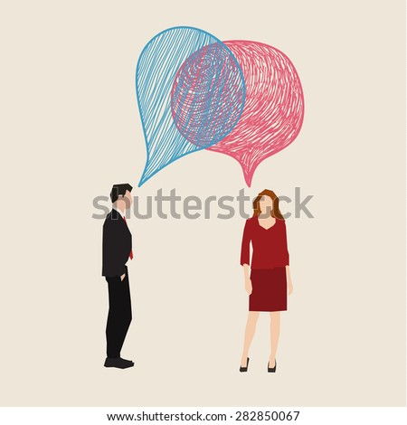 Communication concept. Woman and man with hand drawn speech bubbles. Flat design, vector illustration - stock vector