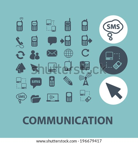 communication, connection icons set, vector - stock vector