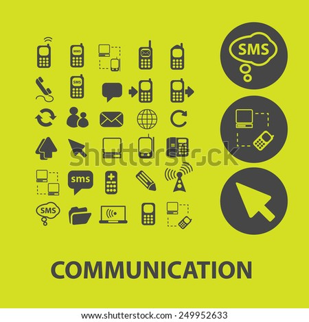 communication, connection, social media, mobile icons, signs, illustrations on background set, vector - stock vector