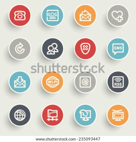 Communication contour icons on color buttons. - stock vector