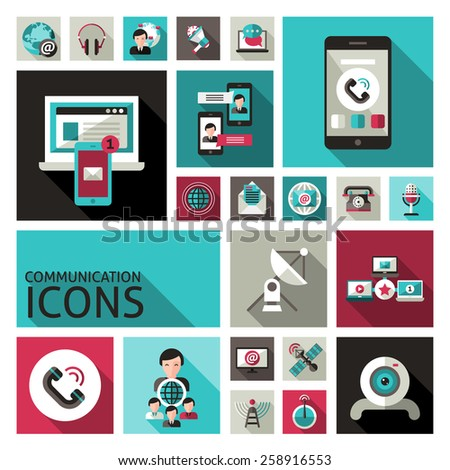 Communication decorative icons set with smartphone computer speech bubbles isolated vector illustration - stock vector