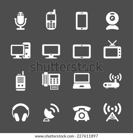 communication device icon set, vector eps10. - stock vector