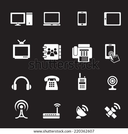 Communication device icons - stock vector