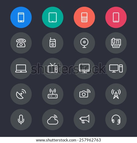 Communication device line icons - stock vector