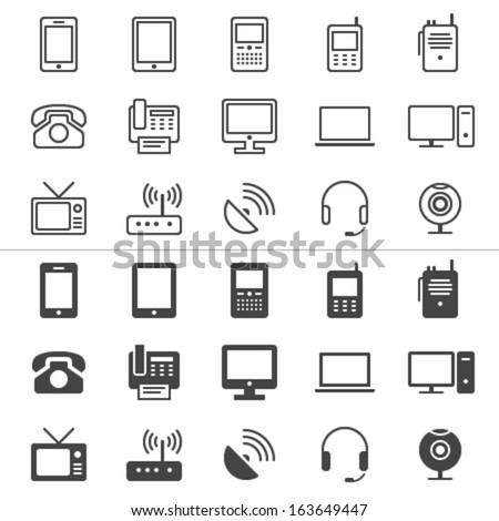 Communication device thin icons, included normal and enable stat - stock vector