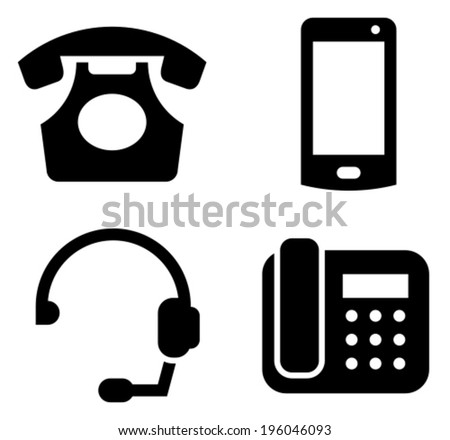 Communication devices icon set - classic telephone, mobile phone, headset and modern phone - stock vector