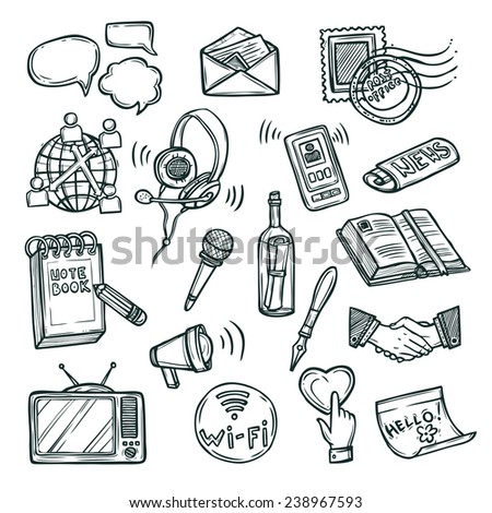 Communication doodle decorative icon set with mobile phone notebook handshake symbols isolated vector illustration - stock vector