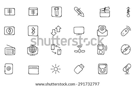 Communication Hand Drawn Vector Icons 4 - stock vector