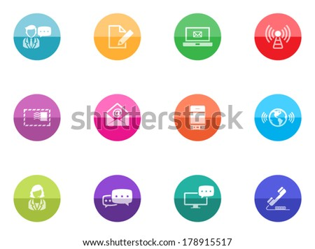 Communication icon series in color circles.  - stock vector
