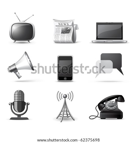Communication icons | B&W series - stock vector