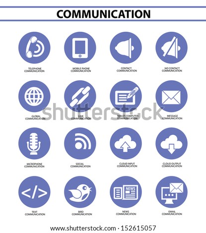 Communication icons,Blue circle version,vector - stock vector