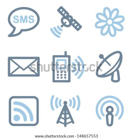 Communication icons, blue line contour series - stock vector