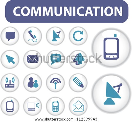 communication icons & buttons set, vector - stock vector