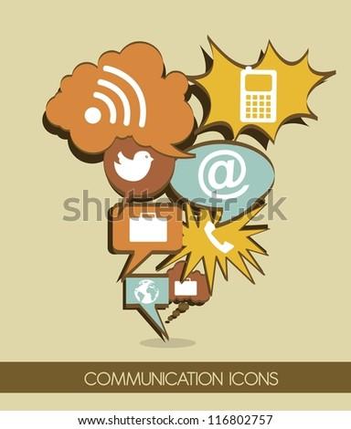 communication icons cartoon, vintage style. vector illustration - stock vector