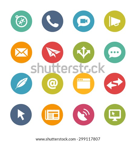 Communication Icons, Circle Series - stock vector
