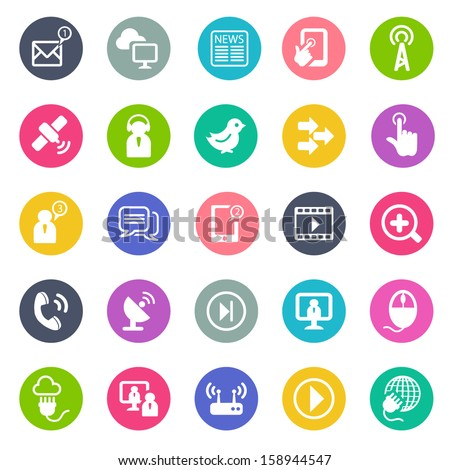 Communication icons -flat design - stock vector