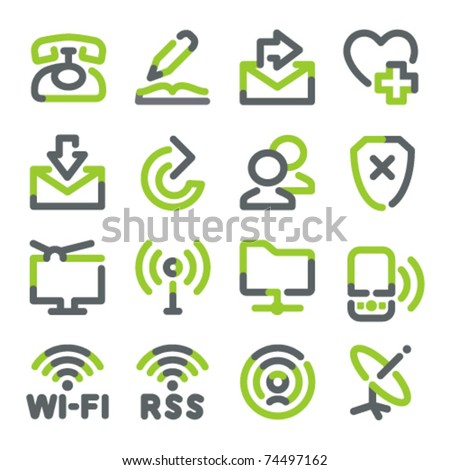 Communication icons. Green gray contour series. - stock vector
