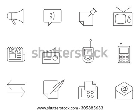 Communication icons in thin outlines. Cell phone, tv, radio. - stock vector