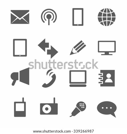 Communication, icons, monochrome. Communication, icons, vector, color, flat image on a white background.  - stock vector