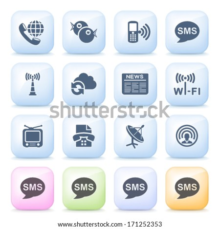 Communication icons on color buttons. - stock vector