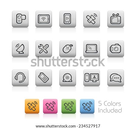Communication Icons // Outline Buttons - Each color in a layer. To see the desired color, you need to make it visible in the layer panel -- EPS 10+ Contain Transparencies - stock vector