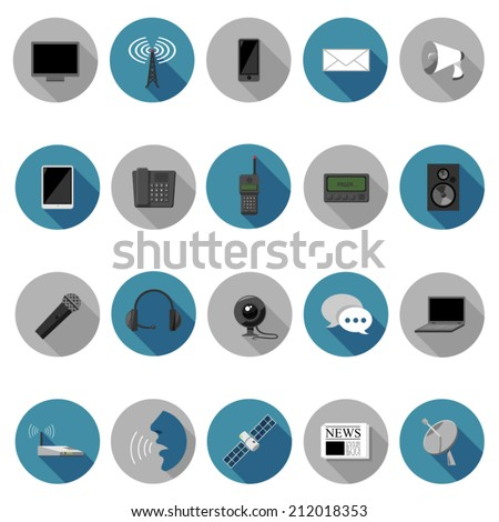 Communication icons set in flat design with long shadow. Illustration EPS10 - stock vector