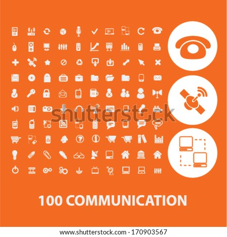 communication icons, signs set, vector - stock vector