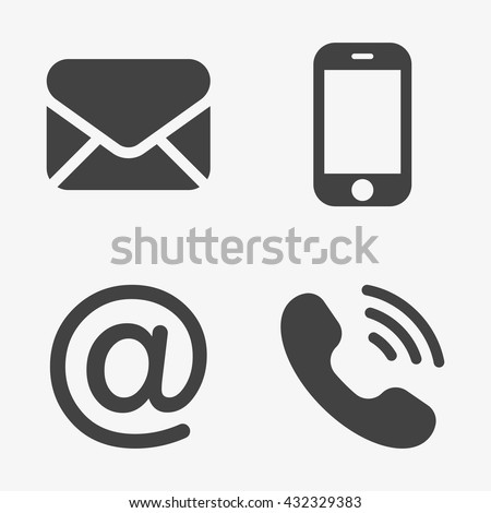 Communication Icons (smartphone, envelope, phone, e-mail)  in trendy flat style isolated on grey background. Contact symbols for your web site design, logo, app, UI. Vector illustration, EPS10. - stock vector