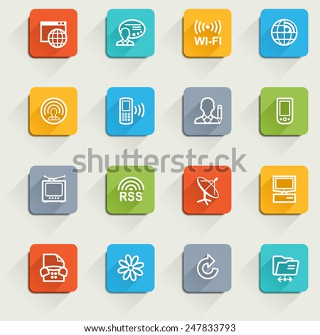Communication icons with color buttons. - stock vector