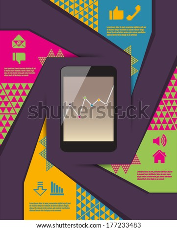 communication infographic illustration with mobile phone - stock vector