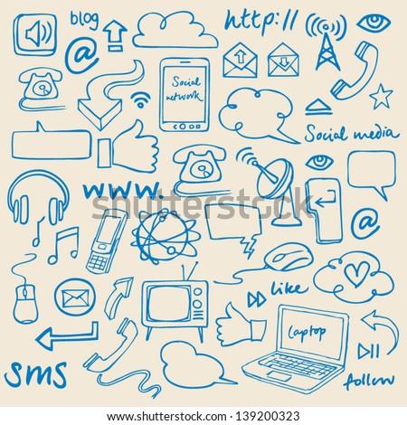 Communication & internet doodles vector - stock vector