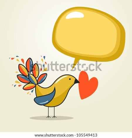 Communication love concept: bird with speech bubble and heart. Vector file layered for easy manipulation and custom coloring. - stock vector