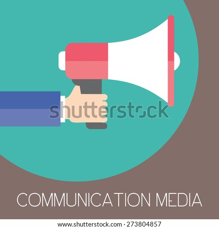 Communication media and digital marketing. Business man holding megaphone. Flat design. Business illustration concept. - stock vector