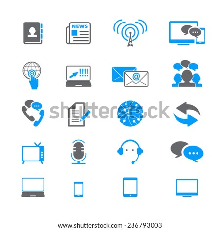 Communication & Media Icons Set - stock vector