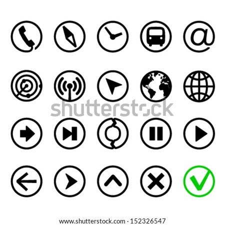 Communication, navigation and media, modern style round icons set - stock vector
