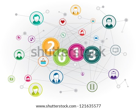 Communication network in social media in happy new year - stock vector