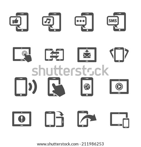 communication of smart phone and tablet device icon set, vector eps10. - stock vector